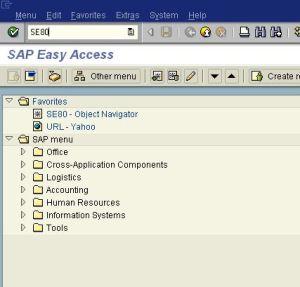 menu SAP - SE80